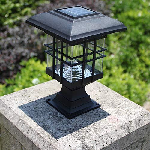 LED Columna Faro Exterior Impermeable Energía Solar Linterna Luz Comunidad Europea Estilo Villa Luz Exterior Patio Puerta Pilar Luz Pared Patio Lámpara