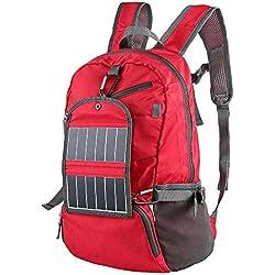 AXJa Sac à dos solaire d'alpinisme, batterie W / 2000Mah, pour la randonnée, la voile, la pêche au camping, rouge