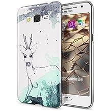 Samsung Galaxy Grand Prime Funda Carcasa de NICA, Protectora Movil TPU Silicona Ultra-Fina Gel Transparente / Cubierta Goma Bumper Cover Case Clear para Grand Prime, Designs:Deer
