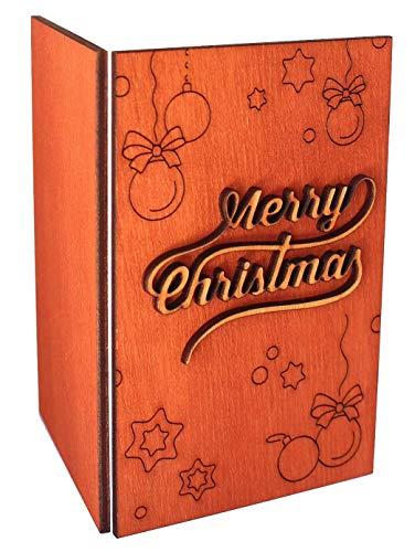 Handgemacht aus Holz nachhaltiger Frohe Weihnachten Seasons Greetings oder Happy Holidays 2016Karte 3,5x5,5 with Merry Christmas Inscription