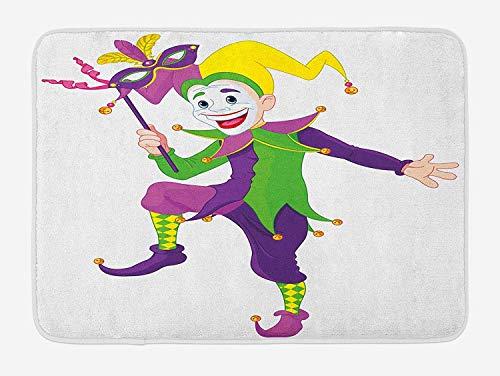 Dark Jester Costume - Casepillows Mardi Gras Bath Mat, Cartoon