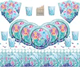 Magical Mermaid Party Supplies Kit da tavola per Feste di Compleanno per Bambini 16 Ospiti Under The Sea- Mermaid Plate Cup Napkins Table Cover