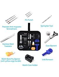 13pc kit de herramientas de reparación de reloj caso, primavera Bar, pines, recargable, correa, herramienta de eliminación de enlace, funda de transporte