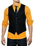 Reslad Herren Weste ärmellose Männer V-Ausschnitt Kellner Hochzeit Anzug Business Westen Slim Fit Taschen K-235 Schwarz M