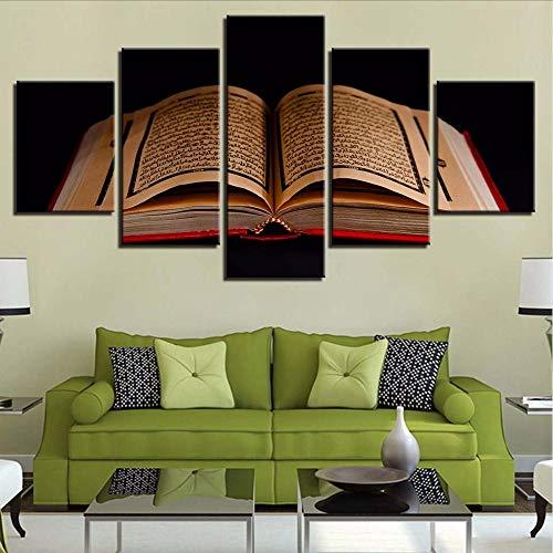Leinwand Malerei HD Drucke Dekoration 5 Stücke Islamische Buch Wandkunst Für Nacht Hintergrund Modulare Bilder Kunstwerk PosterModerne Hd Bilder-30x40/60/80cm,with frame