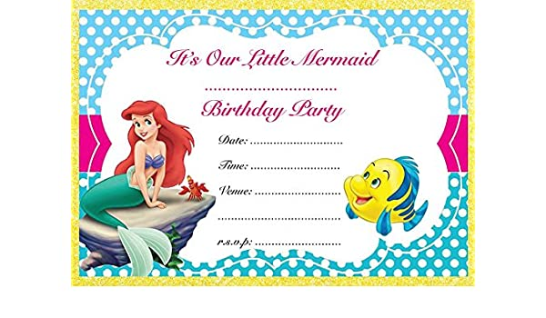 The Little Mermaid Birthday Party Invites Invitations X 10 Pack Envelopes