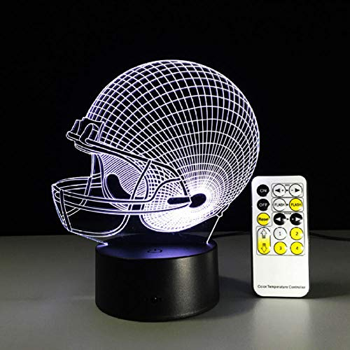- Team Farbe Ausgestattet Hut (Kinderbeleuchtung Alle Teams Fußball Rugby Hut Fernbedienung Lampe Bunte Acryl Touch Runde Visuelle Stereo 3D Nachtlicht Für Fußball Fan Geschenk)