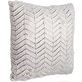 Beautify Kissen mit Fischgrätenmuster Pink – Luxuriös, weich, Kunstfell – 45 x 45 cm – Stylisches Accessoire für Sofas, Schlafzimmer & Wohnzimmer