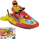 Jet Ski Juno von Feuerwehrmann Sam, mit Elvis Figur, Lichtfunktion, 16 cm || Jetboot Spielzeug Wasserscooter