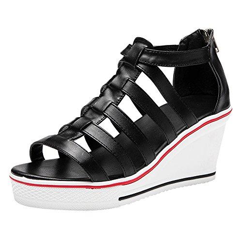 Qimaoo Damen Keilabsatz Sandal 8cm Mädchen Sommer Römische Sandalen Wedge Sandaletten Toe Stöckelschuhe, Schwarz Rot und Weiß