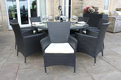 Black Rattan Outdoor 8 Seat Round Garden Furniture Dining Set Garden Rattan