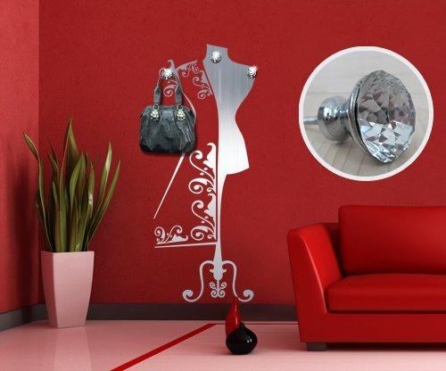 00315 Adesivo murale con pomelli stile Swarovski per appendiabiti Wall Art - Atelier con gioielli - Misure 66x170 cm - argento - Decorazione parete, adesivi per muro, carta da parati
