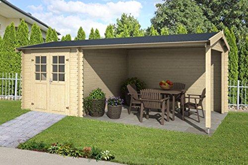 Gartenhaus G239-28 mm Blockbohlenhaus, Grundfläche: 15,68 m², Satteldach
