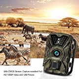 EARTHTREE Wildlife Trail Camera 12MP 1080P HD Hunting Cam with 940nm IR LEDs Night Vision 2.4 LCD Display Camouflage Scouting Camera with IP66 Waterproof