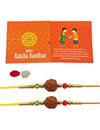 iberry's Rakhi Gift Pack with Set of Two Rakhi & Rakshabandhan Card and Roli Chawal for Brother(Men/Boys)(Combo 1)(Combo 0101)-Best Gift from Sister
