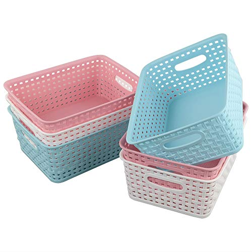 Tstorage Cestos Cesta Cesto Cestas de Almacenaje de Ratán Mimbre Plastico, Color Azul Rosa Blanco, 6 Paquete