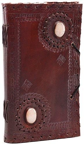 INDIARY Esoterik-Tagebuch aus Leder und handgeschöpftem Papier - zwei Natursteine 23x14cm - White Stones