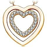 NEEMODA Collana cuore donna Ciondolo cristallo placcato oro giallo Gioielli Regalo compleanno anniversario san valentino Natale