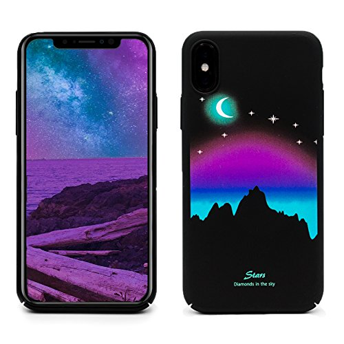 ProtectPax Iphone X TPU Monlight Case Cover IPhone Hülle - Lila/Halbmond leuchtet im Dunkeln Schutzhülle IPhone 10 Handyhülle mti Stil Apple Bumber