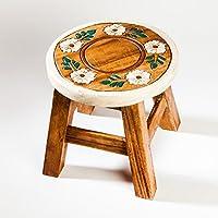 Preisvergleich für Robuster Kinderhocker/Blumenhocker massiv aus Holz mit Motiv Blume, 25 cm Sitzhöhe
