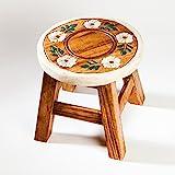 Robuster Kinderhocker/Blumenhocker massiv aus Holz mit Motiv Blume, 25 cm Sitzhöhe