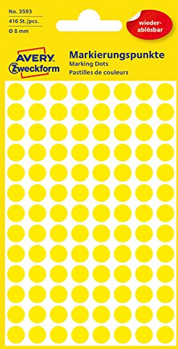 Avery 3593 Círculo Amarillo 416pieza(s) - Etiqueta autoadhesiva (Amarillo, Círculo, Papel, 8 mm, 416 pieza(s), 104 pieza(s))