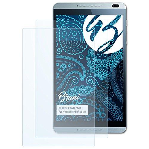Bruni Schutzfolie für Huawei MediaPad M1 Folie, glasklare Bildschirmschutzfolie (2X)