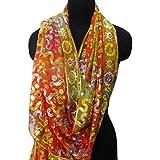 dupatta vendimia indio hecho a mano material de georgette de la estola larga estola de color naranja utilizado velo de novia abrigo naranja pañuelos hijab velo