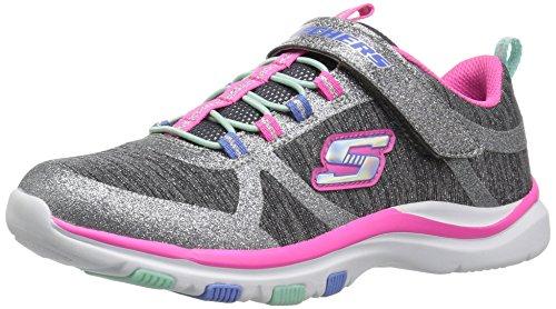 Mädchen Sneaker aus Nylon mit Glitzer federleichte Sohle, Groesse 36, grau/rosa ()