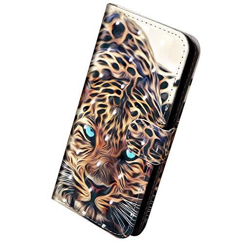 Herbests Kompatibel mit Samsung Galaxy S10e Hülle Klapphülle Leder Tasche Flip Schutzhülle Wallet Handyhülle 3D Bunt Muster Bling Glitzer Brieftasche Handytasche Case,Gold Leopard