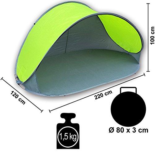 Pop Up Strandmuschel mit Boden UV-Schutz 40 oder 60 – 220 x 120 x 100 – cm in verschiedenen Farben (Grau / Grün UV60) - 4