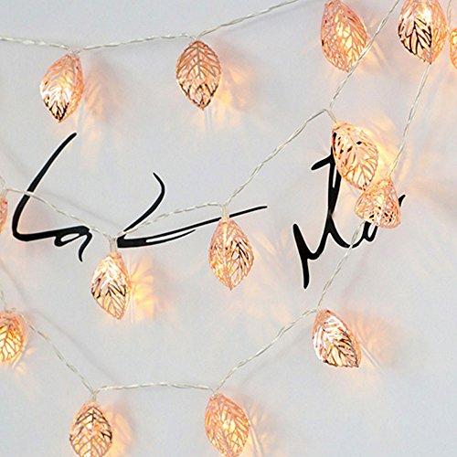 FeiliandaJJ Lichterkette Rose Gold Blätter 3M 20LED Dekorative LED-Leuchten Hochzeit Party...
