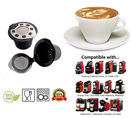 Reusable Nespresso Capsules – 6 Pack – Refillable Pods For Nespresso Machines Silver Lid Latest Generation (OriginalLine Compatible Only)