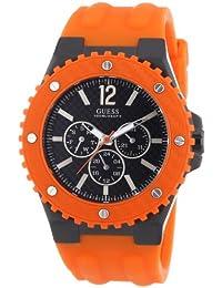 Guess - Reloj analógico de cuarzo para hombre con correa de silicona, color naranja