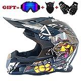 Yedina Adult Motocross Helmet MX Motorrad ATV Scooter Full face Helmet D.O.T Zertifizierung Geschenkbrille Handschuhe Maske (S, M, L, XL),L