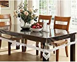 #10: Kuber Industries™ Dining Table Cover Transparent 6 Seater 60x90 Inches (White Lace)