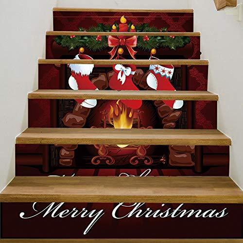 XYL HOME Weihnachten verkleiden Sich kreativen Treppenhaus Aufkleber Weihnachten Kamin PVC ()