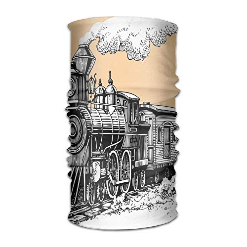 RAINNY Woman's Men's Turban Vintage Wooden Train Rail Wild West Wagon in Countryside Drawing Effect Artsy Custom Kerchief -