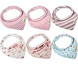 Bandana Baby Lätzchen Bib, Baumwolle Sabberlätzchen, saugfähige weich Dreieckstuch Halstücher mit verstellbaren Druckknöpfen für Jungen Mädchen zum Füttern oder Geschenk von Discoball® (1 Set 6 Stücke)