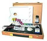 Giotto Linea Regalo - Geschenkkoffer aus Holz mit Temperafarben in Tuben und Accesoires, für Anfänger Holzschatulle Professional