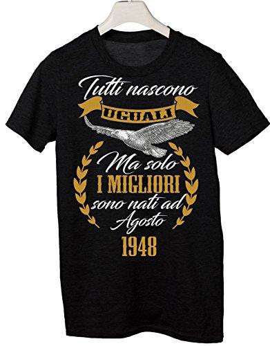 Tshirt tutti nascono uguali ma solo i migliori sono nati a Agosto 1948 - eventi - compleanno - Tutte le taglie by tshirteria Nero