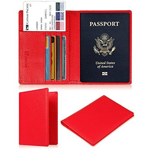 Fintie Porte-passeport Housse - Voyage Protecteur Porte-feuille Pochette étui de protection pour passeport, Rouge