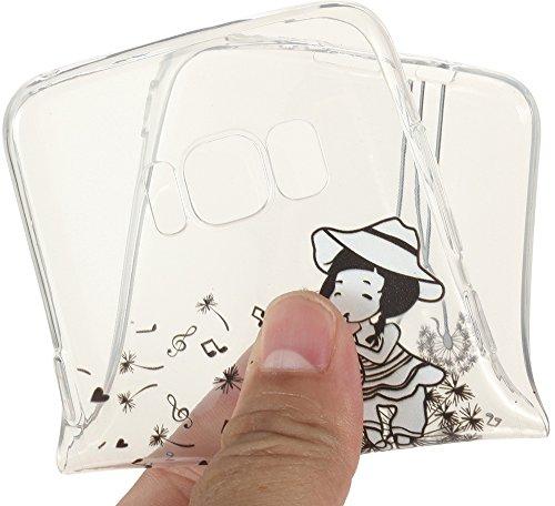 Nnopbeclik Silikon Transparent Hülle Für Samsung Galaxy S8, Ultra Slim Weich TPU Cover Case [Einfaches Design] Durchsichtig Blume Case Etui, Druck Multi Muster [Schmetterling] Niedlich Schutzhülle Glä Löwenzahnmädchen
