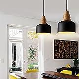 MSTAR Retro Industrielle Pendelleuchte aus Holz und Metall Schwarz Lackiert Vintage Landhausstil Hängeleuchte für Esstisch Küche Wohnzimmer Loft (Schwarz, P6038BK)