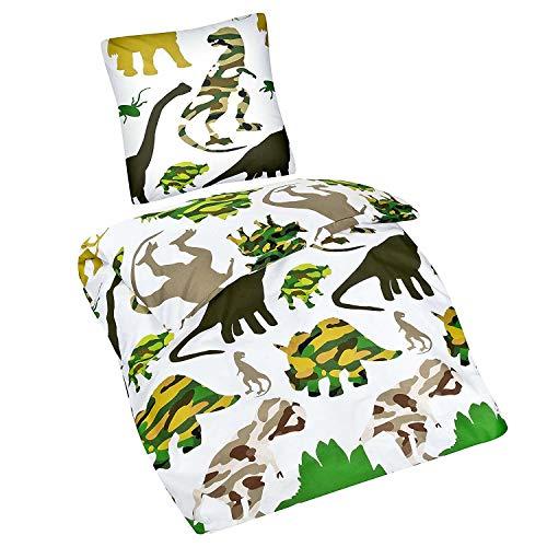 Aminata Kids Dinosaurier Bettwäsche 135 x 200 cm + 80 x 80 cm aus Baumwolle mit Reißverschluss, unsere Kinderbettwäsche mit Dino-Motiv ist weich und kuschelig