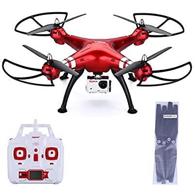 Syma X8HG 2.4GHz 8.0MP HD DSLR Camera RC Headless Quadcopter Helicopter 4 Channel 6 Axis Gyro System Radio Wireless Remote Control FPV Flip Fly UFO 3D Rotation 360 Degree Eversion LED One Key Drone Gift Toys - Red