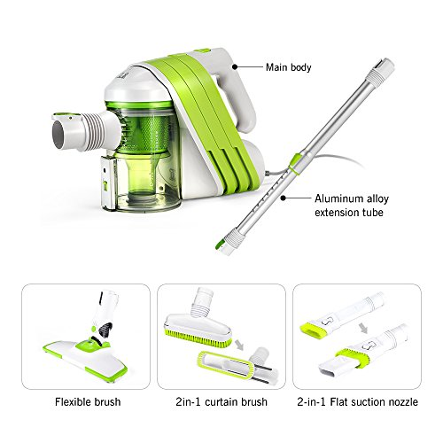PUPPYOO Stick Vacuum Cleaner with HEPA Corded Vac cleaner with / 2 in 1 flat nozzle/ 2 in 1 curtain brush (White & Green )