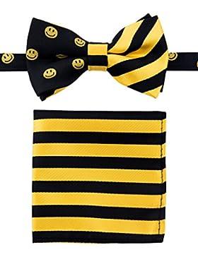canacana Smiley Emoji PRE-TIED Boy del lazo corbata, diseño de rayas bolsillo cuadrado Set