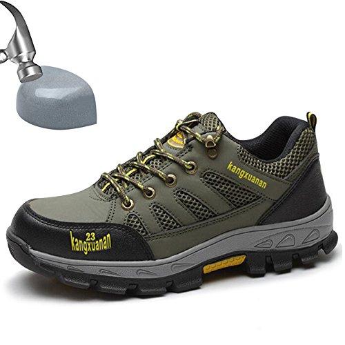 SUADEEX Damen Herren Arbeitsschuhe Stahlkappe Sicherheitsschuhe Sportlich Trekking Wanderhalbschuhe Hiking Schuhe Traillaufschuhe- Gr. EU 40=Aisa 41, Grün