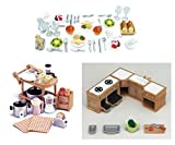 Three Sylvanian Families Sets - Food and Kitchen Theme - Dinner Set, Kitchen Appliances and Kitchen Cabinet
